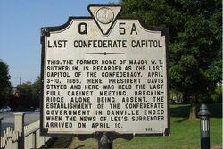 HIstorical marker Last Confederate Capitol Danville Virginia