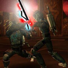Malek  overpowers his clone Phantos.