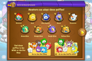 Puffle Party 2016 app interface adoptions page 1
