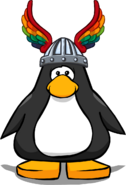 Rainbow Winged Helm on a Player Card