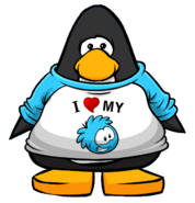 I Heart My Blue Puffle T-Shirt from a Player Card