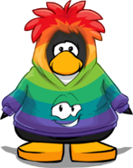 Rainbow Smirk Hoodie on a Player Card