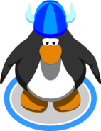 Blue fuzzy viking helmet