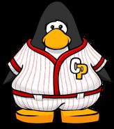 Red Baseball Uniform on a Player Card