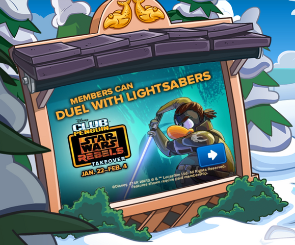 File:Duel With Lightsabers - Club Penguin app Billbord.PNG