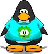 Green Pixel Puffle Tee on a Player Card