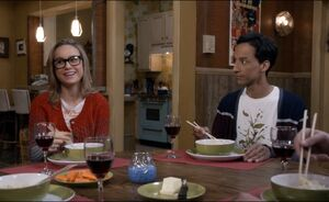 Rachel and Abed eating noodles