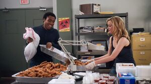 Troy and Britta chicken fingers
