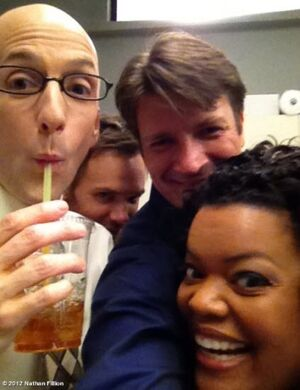 Fillion with Community cast