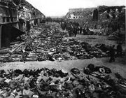 Rows of bodies of dead inmates fill the yard of Lager Nordhausen, a Gestapo Nazi concentration camp