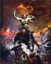Cover art by Frank Frazetta used for the Lancer Books Conan, Sphere, Prestige and 1981-1994 Ace editions of Conan the Conqueror