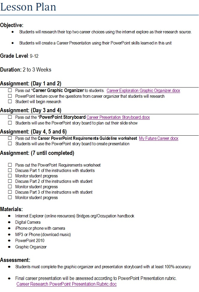 Student-Centered Lesson Plan | Content Area: Intro. to PowerPoint 2010 ...