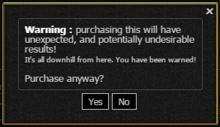 Warning screen