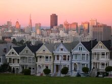 2316419-Rows of Victorian inspired houses and the city of