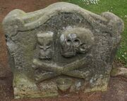 Photograph Skull and Crossbones Gravestone Old Churchyard Dollar Scotland