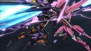 Cross Ange ep 24 Arquebus Vanessa blocks Hysterica's attacks