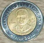 Filomeno Mata 5 peso coin 2009