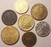 Euro and schilling coins