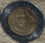 Francisco I. Madero 5 peso coin 2010