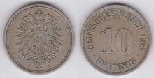 10 pfennige German Empire 1875