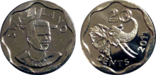 Swaziland 20 cents 2011 19mm