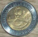 Venustiano Carranza 5 peso coin 2010