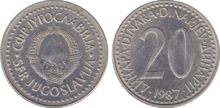 Yugoslavia 20 dinara 1987