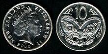 New Zealand 10 cents 2000