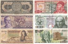 Old peso banknotes