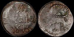 Puebla 2 reales 1813 Ponterio