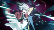 Jin attacks Ragna