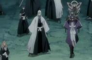Ukitake sees senbonzakura and other spirits leave thier masters