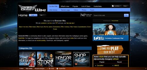 Darkorbit wikia home page