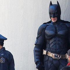 Christian Bale on set as Batman.