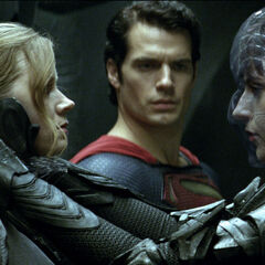 Lois and Superman with Faora aboard Zod's ship.