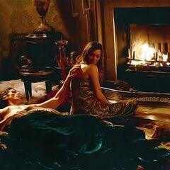 Miranda shares an intimate moment with Bruce Wayne.