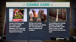 Dead rising 2 Case 0 combo card explanation screen