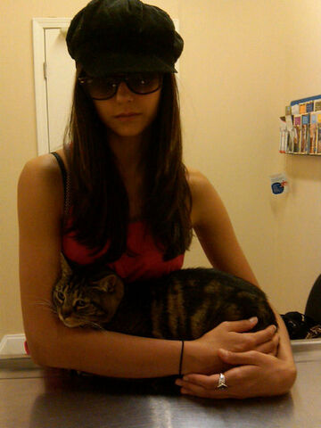 File:Nina and her cat at the vet.jpg