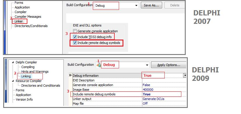Delphi project options remote debug2