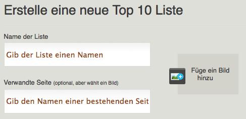 Erstellen einer Top 10-Liste