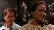 LaGuerta and Dexter on Travis' crime scene