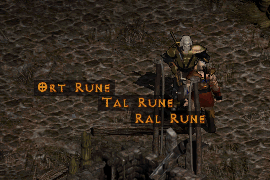 Ral, Ort, and Tal runes on the ground next to Qual-Kehk