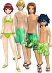 "Marcus Damon, Thomas H. Norstein, Yoshino ""Yoshi"" Fujieda, and Keenan Crier (Green Swimsuits) dm"
