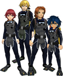 "Marcus Damon, Thomas H. Norstein, Yoshino ""Yoshi"" Fujieda, and Keenan Crier (Black Scuba Suits) dm"