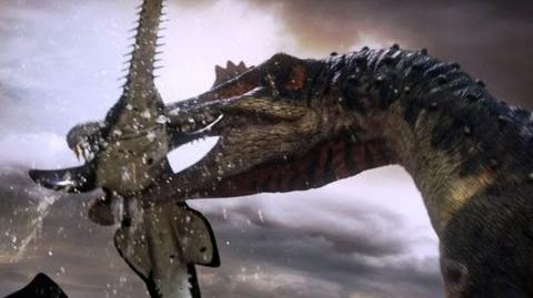 Spinosaurus fishes for prey - Planet Dinosaur - BBC