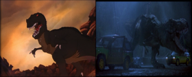 Sharptooth and the Jurassic Park tyrannosaurus