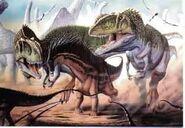 Giganotosaurus hunting Amargasaurus with Argentinosaurus in the background