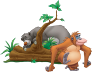 Baloo behind a tree with Louie