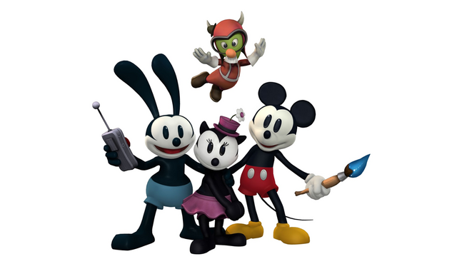 File:Oswald Ortensia Mickey and Gus . Epic Mickey 2 art.png