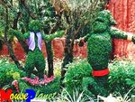 Topiary aladdin and genie